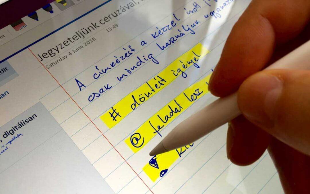 """Microsoft OneNote – """"Értekezleti feljegyzések"""", azaz """"Meeting notes"""""""
