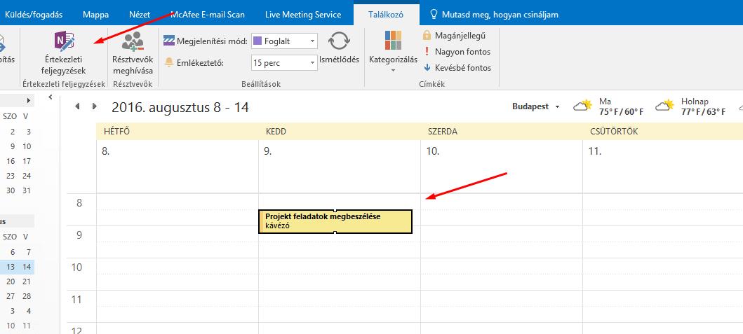 Outlookból értekezlet létrehozása_meeting notes